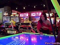 pov teen shows ass in arcade