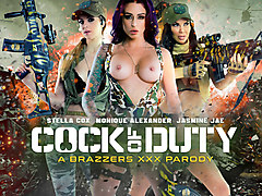 Jasmine Jae & Monique Alexander & Stella Cox & Danny D in Cock Of Duty: A XXX Parody - Brazzers