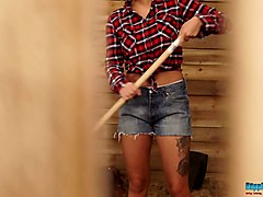 country chick with juicy boobies louise strips and dances in the stable