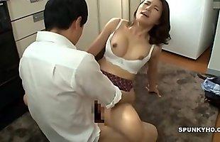 Japanese mom makes son cum hard &_ fast