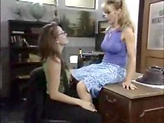 Lesbian threesome at the office
