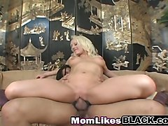 cock hungry blonde milf likes dark meat, especially in her bald pussy