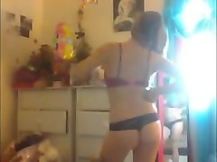 college girl films herself getting naked in her room