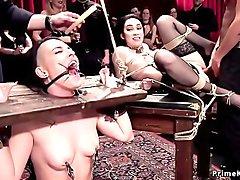 Slaves in extreme bondage anal banged