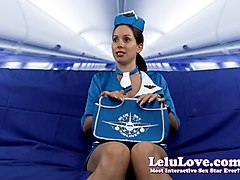 lelu love-cfnm stewardess takes huge doggystyle creampie