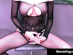 hot cougar shanda fay finger fucks in crotchless stocking!