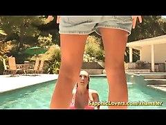 hot lesbian kisses at the pool