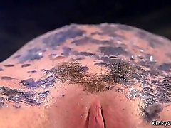 Redhead anal slut waxed and whipped