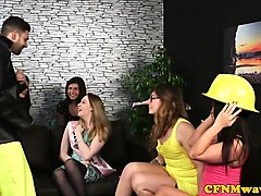 cfnm babes jerking off cock at a henparty