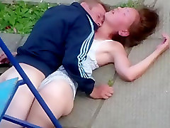 Crazy homeless couple has public sex in a park