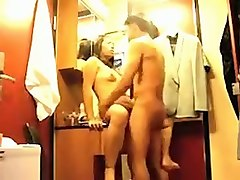 asian amateur wife was fucked by her hubby in the closet