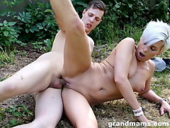hot old tattooed slut fucking a hard young skateboarder