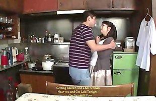 Asian Stepmom Forced By Stepson In The Kitchen - www.stepfamilyxxx.com