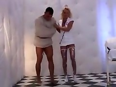 Sexy nurse barbara summer in pvc-boots cures a patient