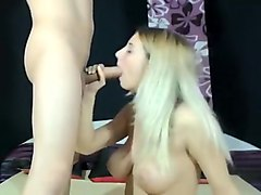 Massive titties blonde beauty sucks and fucks webcam