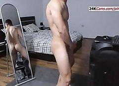 European Guy with Nice Body Masturbating