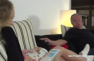 Sluty daughter in law gets horny and fucks her old man