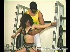 woman with perky tits has a blast while being fucked in a gym
