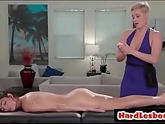 Milf masseuse gets massage to a sexy lesbian - Ryan Keely &amp_ Emily Luis