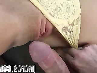 Teenage brunette doggystyled after outdoor blowjob