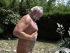 happy gramps gets a slut within the pool