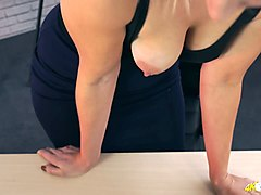 filthy secretary sky shows off her super juicy full natural boobs