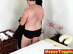 bigtitted asian masseuse wanking client cock