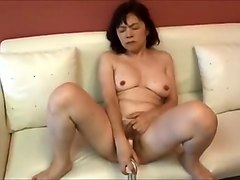 Horny Japanese Milf Kui Somya Masturbating With Big Toy