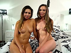 beautiful hottie riley reid gives and interview after passionate girl on girl scene