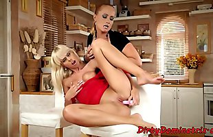 Mature dominatrix plays with her sub slave