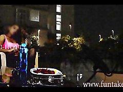 Tamil girl outdoor drink