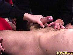 cfnm milf sucking cock with two schoolgirls