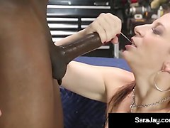 the hottest busty milf sara jay gets fucked by a mechanic!