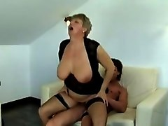 saggy tits german granny in stockings  fucked by young guy