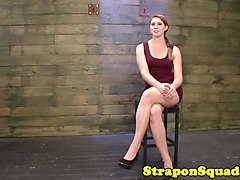 Ginger submissive straponed roughly by lezdom