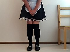 cute japanese maid pees herself