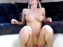 Amazing fit blonde MILF deep throat dildo and fuck