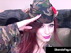 horny cougar shanda fay cleans & fires her soldier's rifle!