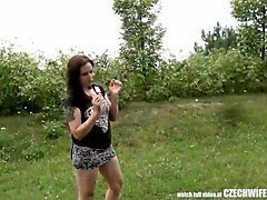 czech wife swap - outdoor public blowjob
