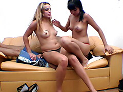 Hot Lesbian Kisses on the Boy - Two Naughty Girls Have Fun