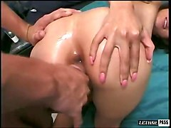 sexy sporty brunette girl takes massive dick deep in her anus for doggy