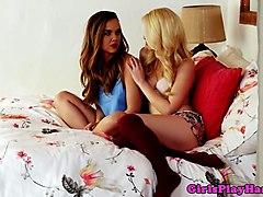 lesbian babe seduces bff into lesbian sex