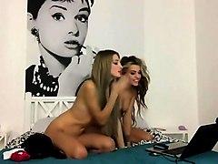 Lesbian amateur chicks teases