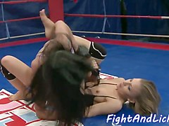 wrestling babes sixtynine after a catfight