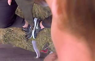 Outdoor Messy Deepthroat in Nike airmax and come on sneakers with Kate Truu
