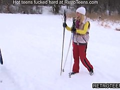 retro action hot blonde teen fucked in a mountain cottage