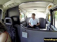 tattooed british cabbie sucking on backseat