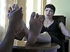 Crazy homemade Foot Fetish, Brunette sex clip