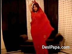 indian wife in red sari striptease show