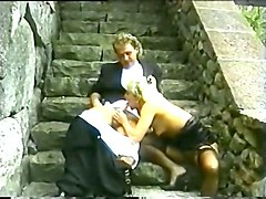hot and voracious european vintage blondie eating cum in the garden